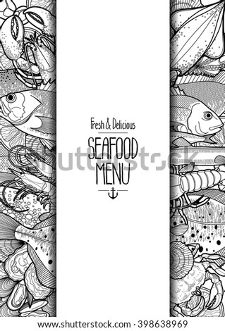 Graphic card drawn line art style stock vector 395658688 for White river fish market menu