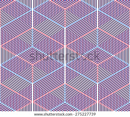 Graphic seamless abstract pattern, regular geometric colorful 3d background. Contrast ornament, EPS10 transparent backdrop. - stock vector