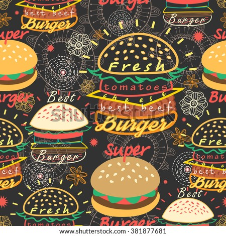 Graphic seamless pattern bright tasty burgers on a dark background - stock vector