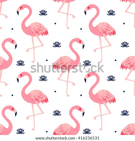 Graphic seamless pattern with cute flamingos and lotus in vector. Bright illustration of nature, animal planet, exotic birds, wildlife, water lilies in pattern. Vector seamless pattern with flamingos - stock vector