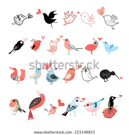 graphic set of different birds on white background   - stock vector