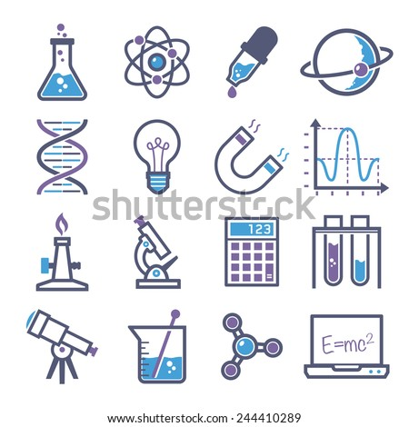 graphic set science and chemical objects on white background // Colors - stock vector