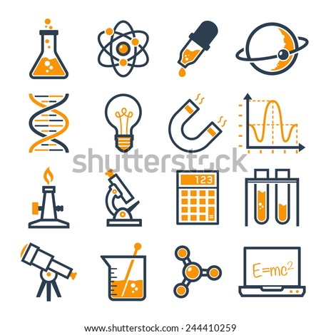 graphic set science and chemical objects on white background // Duo color - stock vector