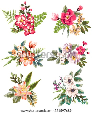 graphic set with hand drawn flower bouquet collection - stock vector