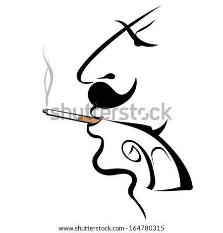 Graphic silhouette of a man with a gun - stock vector