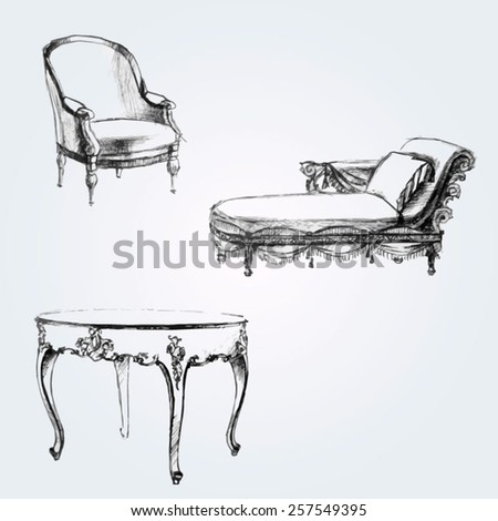 Graphic silhouettes of furniture. Hand drawn set - stock vector
