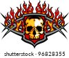 Graphic skull vector image template with flames - stock vector