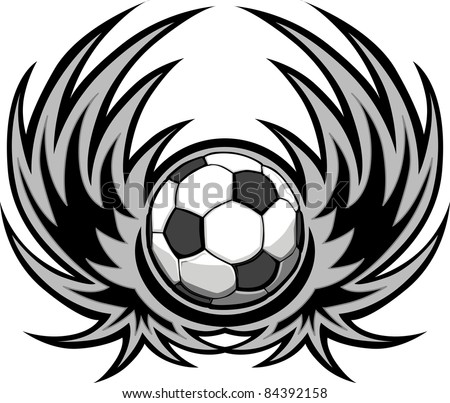 Graphic soccer ball image template with wings - stock vector