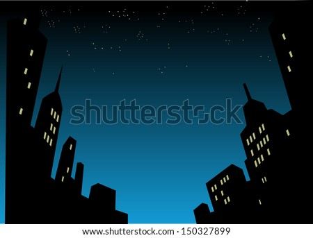 Graphic Style Cartoon Night City Skyline Background - stock vector