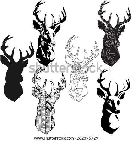 graphic stylization deer head for your design. isolated objects - stock vector