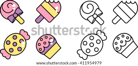 graphic symbol, candy, like, candy, ice cream