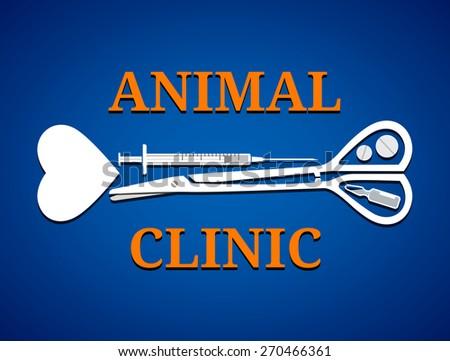 Graphic symbol for animal clinic. Medical tools in shape of dog bone. Qualitative vector logo (symbol, sign, emblem) for veterinary medicine, animal clinic, pet hospital, etc - stock vector