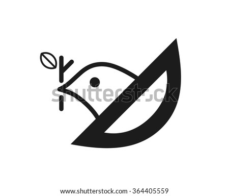 Graphic symbol of a bird sitting in the nest. Vector image.