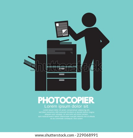 Graphic Symbol Of A Man Using A Photocopier Vector Illustration - stock vector