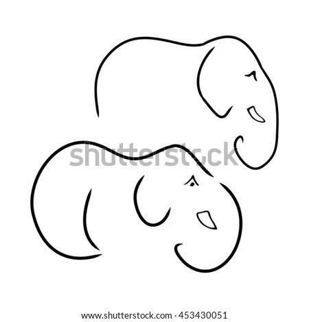 Graphic Symbolic Elephant Black Lines On Stock Vector 453430051