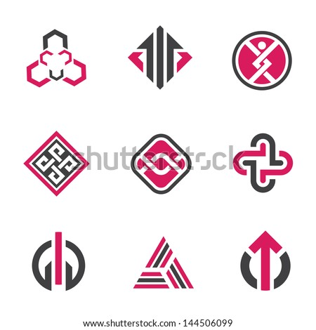 Graphic symbols logo and technology concept icon set  - stock vector