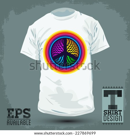 Graphic T- shirt design - Peace and Love Icon, emblem - shirt graphic design - vector illustration. - stock vector