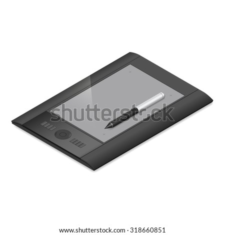 Graphic tablet detailed isometric icon vector graphic illustration