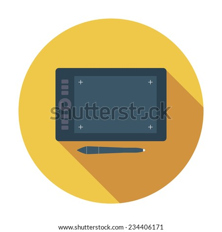 Graphic tablet. Single flat color icon. Vector illustration. - stock vector