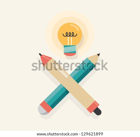 Graphic tablet stylus with pencil and lightning lamp (like skull and crossbones) symbolizing new idea.  Concept for new ideas, inspiration, graphic designer and illustrator work tools and equipment. - stock vector