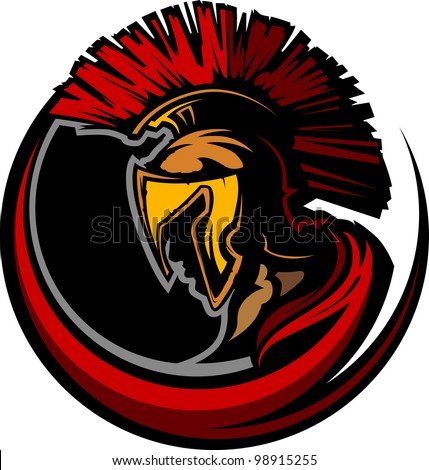 Graphic Trojan or Spartan Vector Mascot with Headdress - stock vector