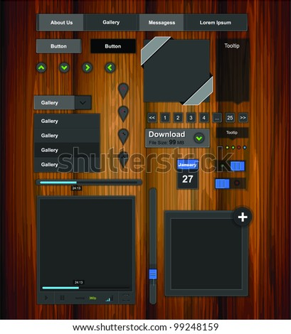 Graphic user interface set - stock vector