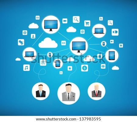 Graphic vector concept of some businessman using cloud computing network for teamwork with new modern technology devices. Isolated on blue background - stock vector