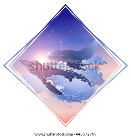Graphic whales flying in the nigh sky. Sea and ocean creatures isolated in rhombus shape. Vector fantasy art in pink, blue and purple colors
