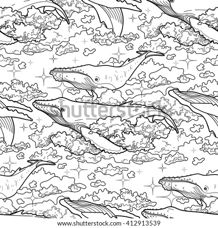 Graphic whales flying in the sky. Sea and ocean creatures. Vector fantasy seamless pattern. Coloring book page design for adults and kids - stock vector