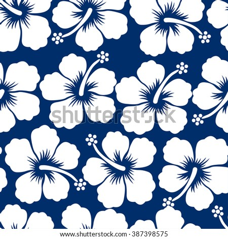 Graphic white tropical hibiscus flowers seamless pattern .