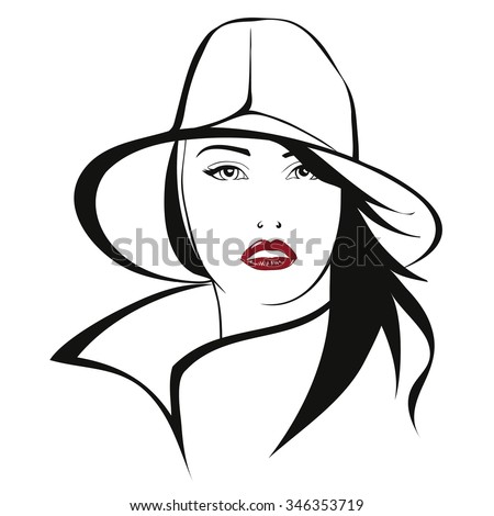 Graphic Woman head wearing an hat underlining her eyes expression and long hair, in tint black area drawing style with a red sensual mouth. vector design, isolated, no background. - stock vector