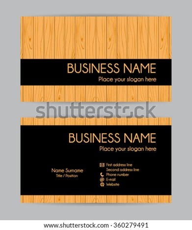 Graphic wooden business card design. Front and back. Vector set. - stock vector