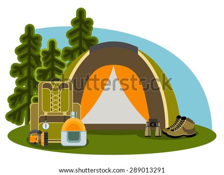 Graphical camping illustration made in flat style. Vector camping concept with tent and nature around. Vector set for your business, web sites, presentations, advertising etc.