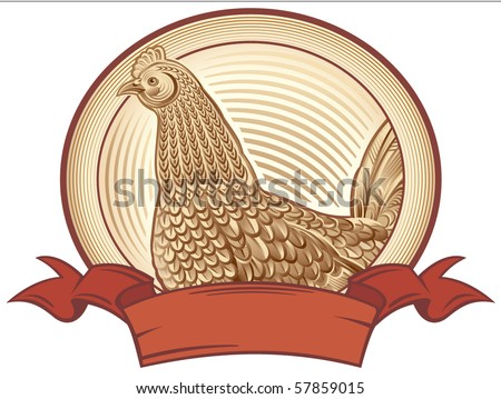 Graphical chicken. Vector object to label or trademarks. - stock vector