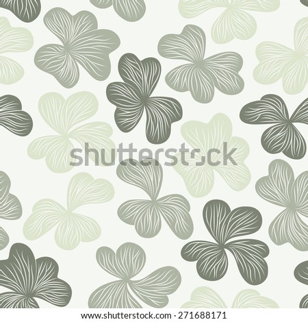 Graphical clover leaves seamless pattern - stock vector