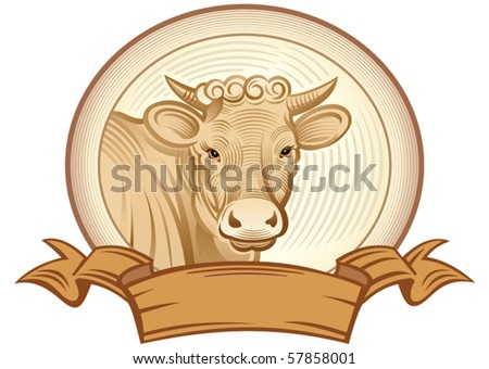 Graphical cow. Vector object to label or trademarks.