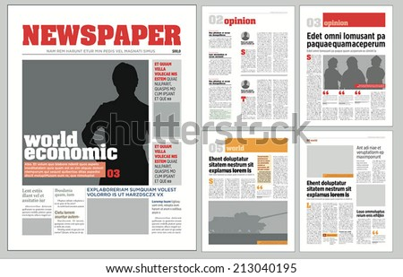 Graphical Design Newspaper Template Stock Vector 135069872 ...