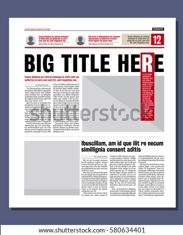 Graphical Design Newspaper Template Stock Vector 580634401