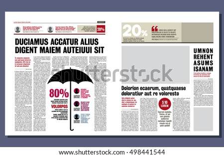 Graphical Design Newspaper Template Highlighting Figures Stock ...