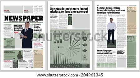 Graphical design newspaper template with infographic - stock vector