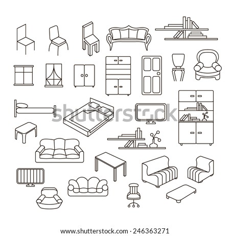 Graphical furniture set, contour empty icons. Isolated items on white.  - stock vector