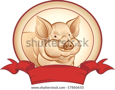 Graphical pig.Vector object to label or trademarks. - stock vector