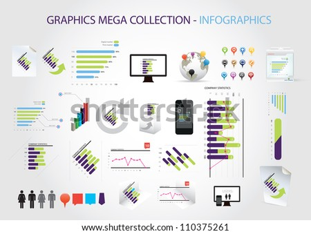 Graphics mega collection - infographics - stock vector