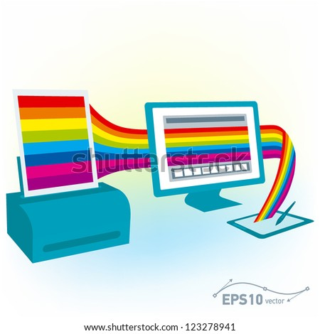 graphics tablet drawing design pc computer monitor printer copy colorful blank / vector - stock vector