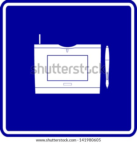 graphics tablet sign - stock vector