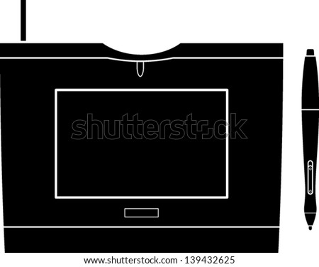graphics tablet with pen symbol - stock vector