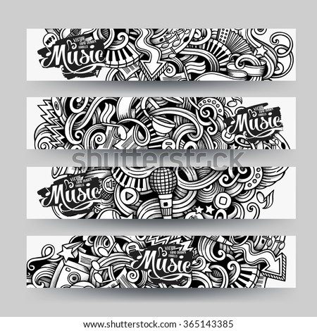 Graphics vector hand drawn sketchy trace Music Doodle horizontal banner. Design templates set - stock vector