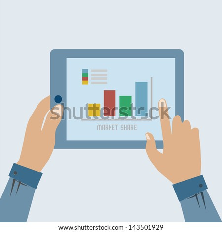 graphs and charts being demonstrated on the screen - stock vector