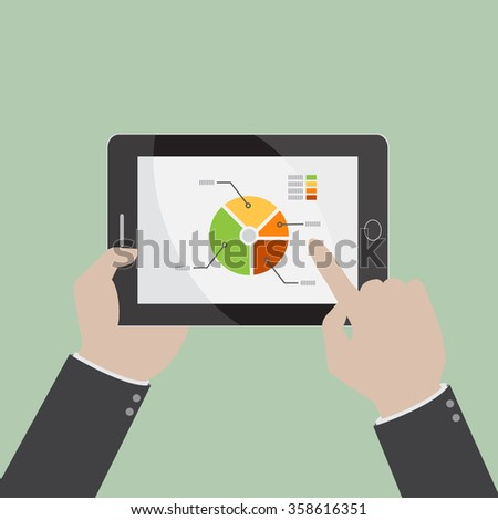 graphs and charts being demonstrated on the screen of a touch-pad, vector illustration