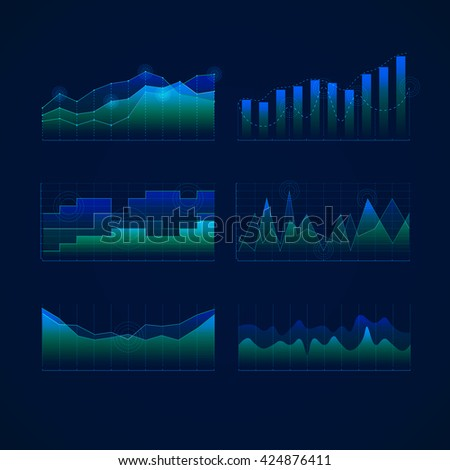 Graphs and charts collection .  Blue color statistic , information graphs set constituents of infographic. Vector illustration . HUD style . Data science